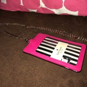 kate spade id holder lanyard hot pink like new